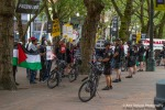 A double row of Seattle bicycle police protect pro Israel supporters during a protest in Seattle.