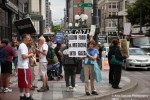 Demonstrators protest the occupation of Palestine by Israel during a rally in Seattle