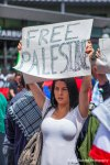 A demonstrator rallys for Palestine at a protest in Seattle